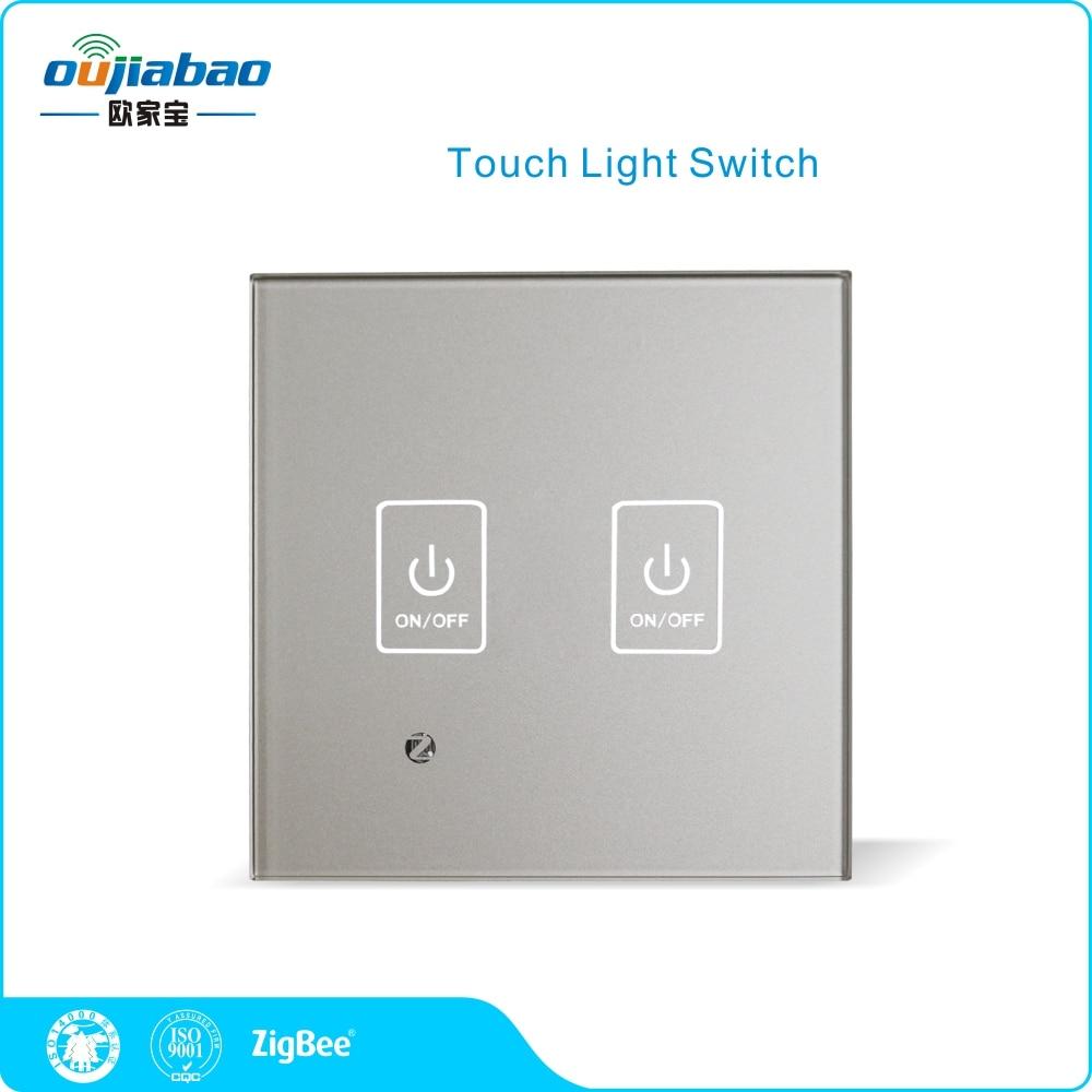 Oujiabao 86 Wall Switch 2 Gang Zigbee HA Touch Light Switch Single ...