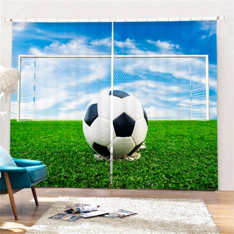 Football Curtains For Living Room Boys Bedroom Office Home Decoration Short Window French Door Blackout Drapes Curtains Aliexpress
