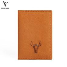 Mingclan ארנק משוגע סוס סלים מיני Wallet Genuin עור כרטיס אשראי מחזיק מקרה זיהוי ארנק ארנקים נסיעות ארנק גברים נשים