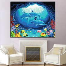 Undersea World Picture By Numbers DIY Dolphins and Small Fish Painting Kits Hand paited On Linen Canvas Home Decor Wall Artwork