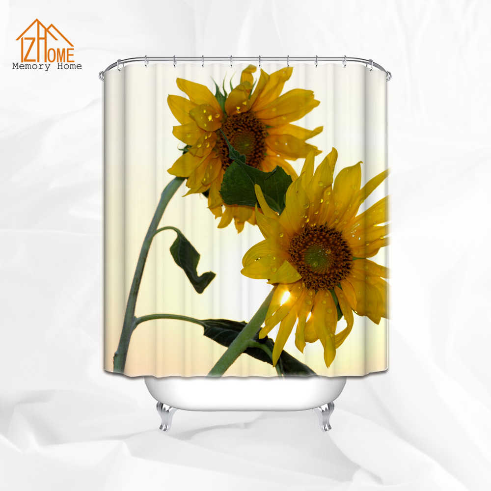 Memoria Casa de Setaria decoración, Cortina de ducha de Amanecer Floral accesorios de baño 180 W X 180 H CM amarillo verde