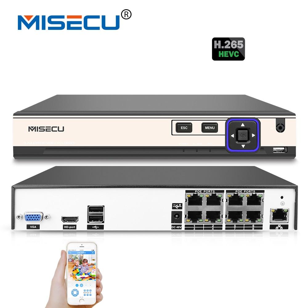 MISECU 4 K 48 V POE H.265/H.264 NVR 4*5 M/8*4 M/4*3 M/16*960 P P2P RS485 IEE802.3af CCTV NVR ONVIF 5 M lecture Hi3798M Pour POE Caméra