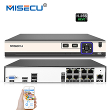 MISECU 4K 48V POE H.265/H.264 NVR 4*5M/8*4M/4*3M/16*960P P2P RS485 IEE802.3af CCTV NVR ONVIF 5M playback Hi3798M For POE Camera