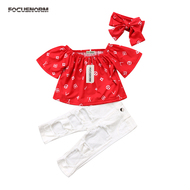 2017 New Fashion Kids Baby Girl Clothes Off Shoulder Tops T shirt+White Stretch Pants 3pcs Outfits Set
