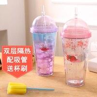 Соломы пластиковый стаканчик Симпатичная студентка двойной изоляцией с прозрачной портативный чай с молоком сок чашки