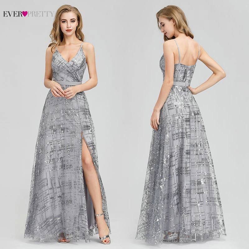 Ever Pretty Prom Dresses Long A-Line V-Neck Side Split Spaghetti Straps Sexy Formal Dresses Sequined Party Gowns Vestido De Gala