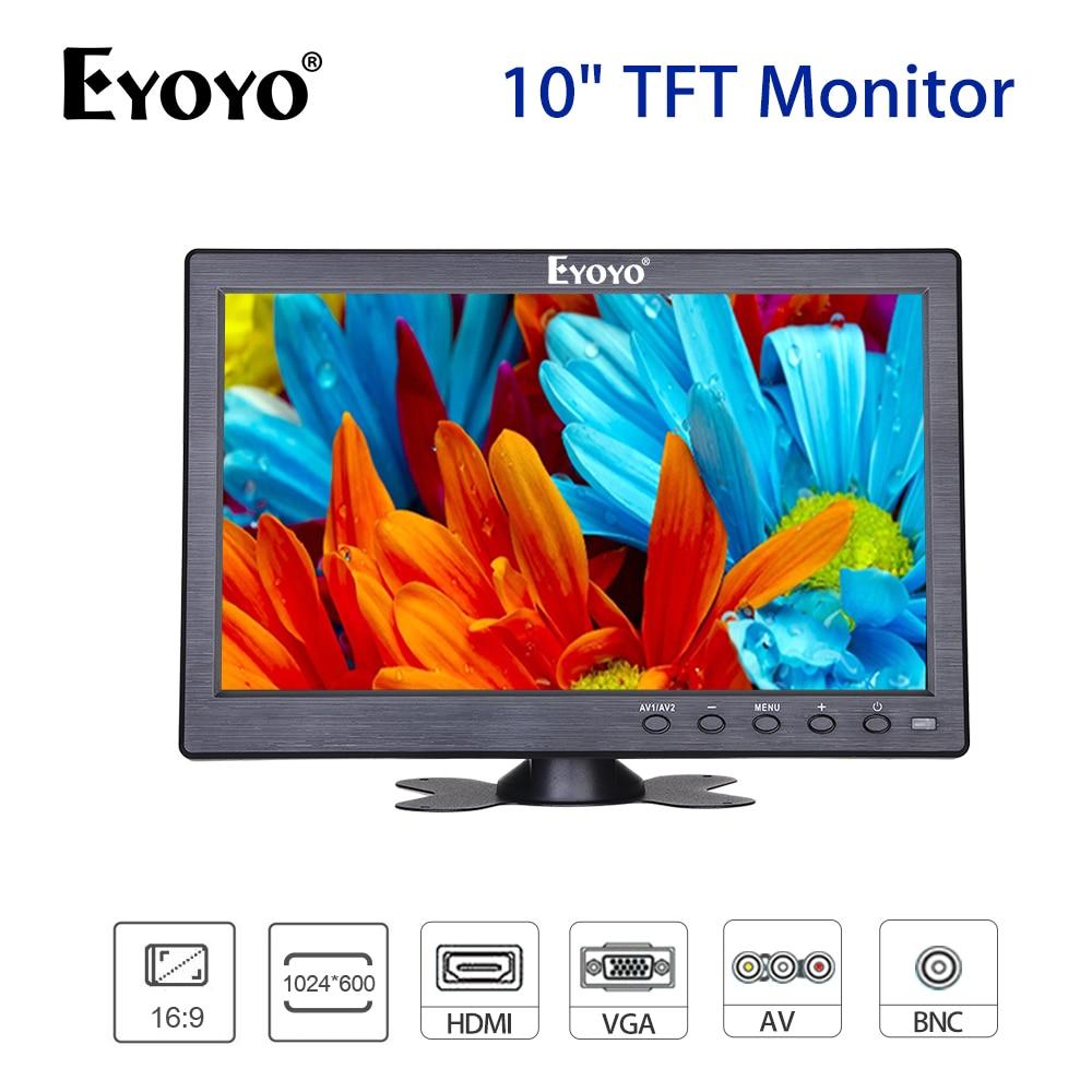 Güvenlik ve Koruma'ten CCTV Monitör ve Ekran'de EYOYO 10.1 inç TFT LCD ekran 1024*600 CCTV monitör BNC AV VGA HDMI Video ses DVR DVD güvenlik kamera dahili hoparlörler title=