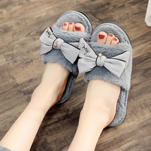 2018 New  Butterfly-knot Women Slippers Winter Autumn Indoor House Flat With Open Toe