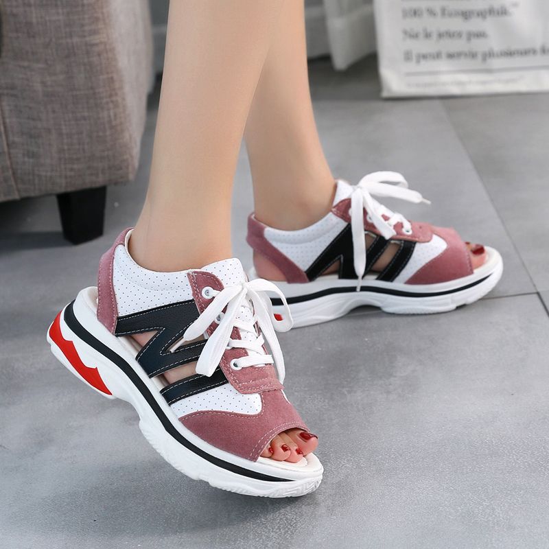 Platform Sandals Walking-Shoes Lace-Up Comfort Breathable Fashion Ladies Casual YH-86
