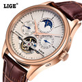 LIGE Brand Fashion Business Men WristWatches Date Leather strap Waterproof Automatic mechanical Mens Watches relogio masculino