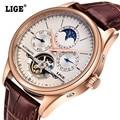 LIGE Marca Data de Homens de Negócios de Moda relógios de Pulso com pulseira de Couro À Prova D' Água mecânico Automático Dos Homens Relógios relogio masculino