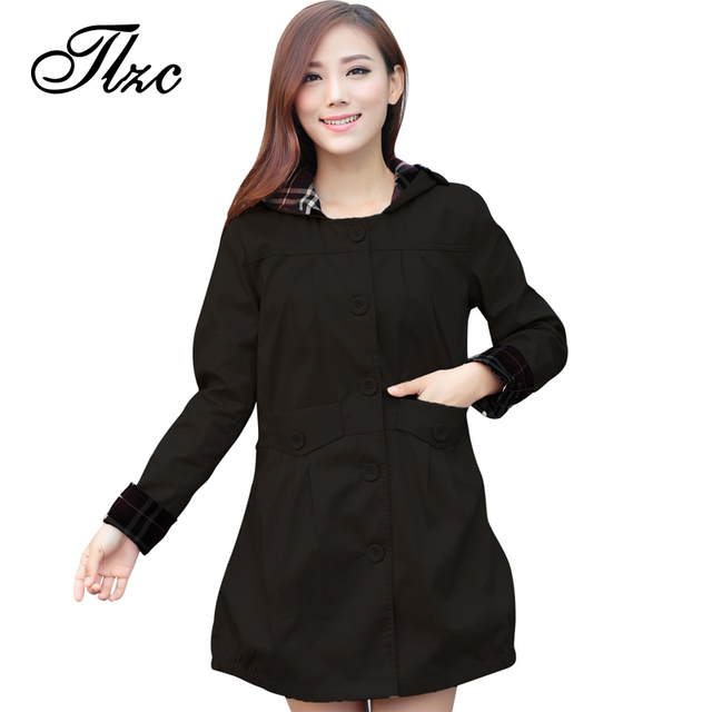 Tlzc outono inverno mulheres moda xadrez trincheira plus size m-3xl bolso & design botão doce senhora do escritório longo outerwear encapuzado