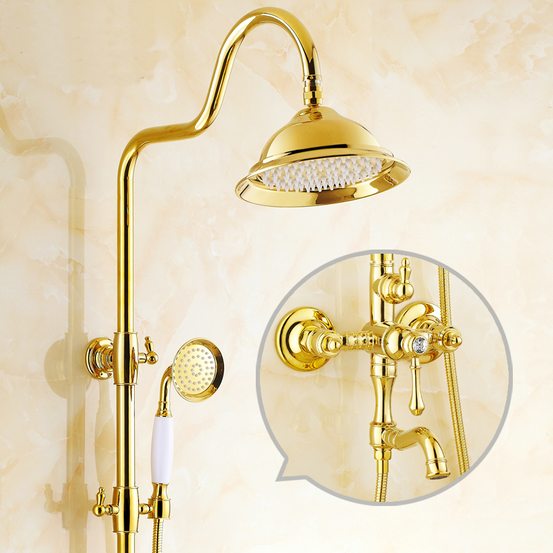 Gold plated rainfall shower faucet mixer,Brass diamond shower water tap doule shower head,Bathroom shower faucet set wall mount