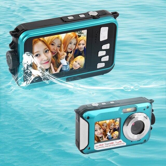 ФОТО karue 2.7inch TFT Digital Camera Waterproof 24MP MAX 1080P Double Screen 16x Digital Zoom Camcorder hot new Camera