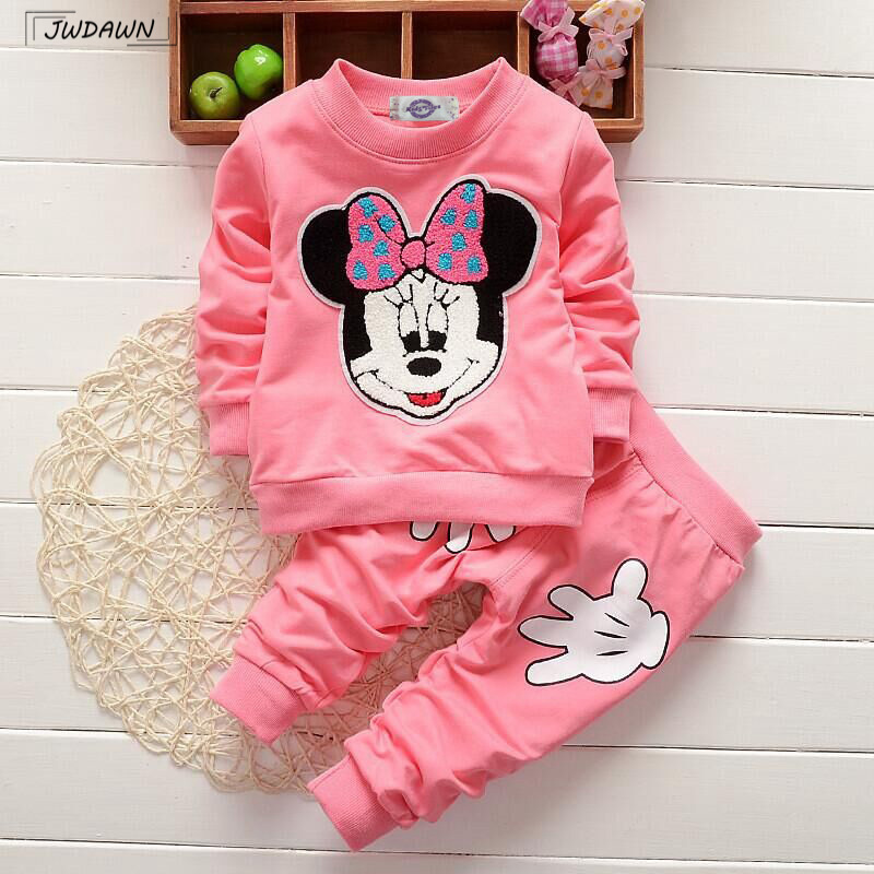 2018 Spring Baby Girls Clothing Sets Cotton Minnie Printing Long Sleeve Sweatshirts + Pants Suit Girls Minnie Clothing Sets