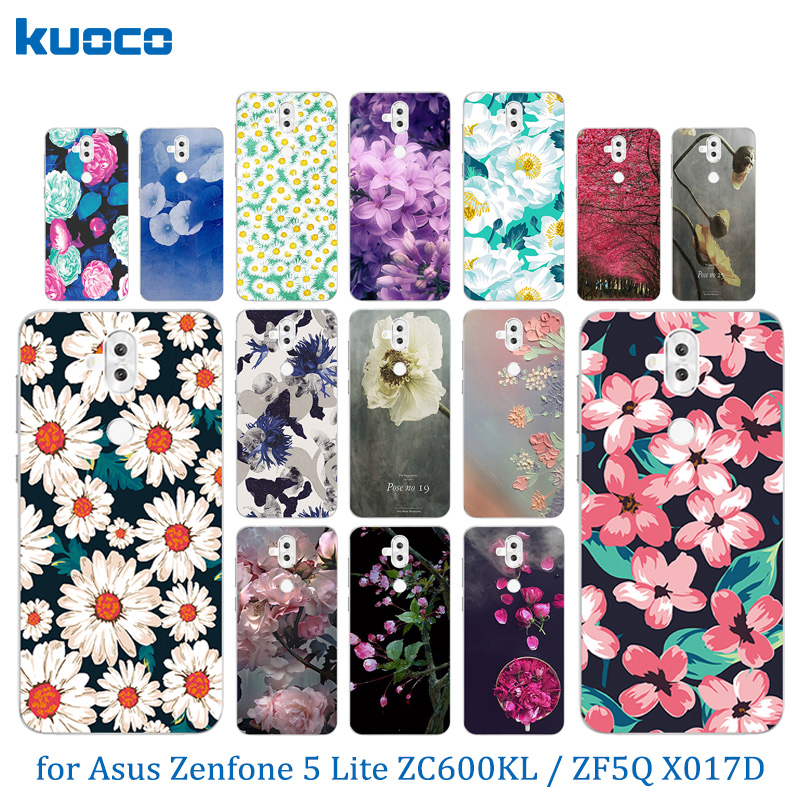 6.0 inch for Asus ZC600KL Ultrathin TPU Phone Case for Asus Zenfone 5 Lite ZC600KL Soft TPU Silicone Blossom Protect Back Cover