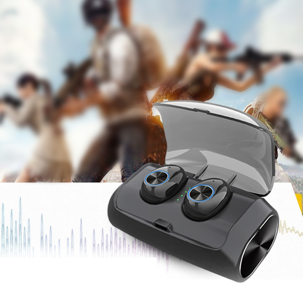 Noise Cancelling In Ear Sports Black Wireless Bass Earbuds USB Bluetooth 5.0 Stereo TWS With Charge Box Waterproof Earphone Mini