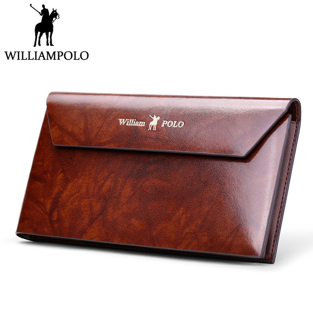 WILLIAMPOLO Genuine Leather Bi-fold Wallet Men Long Purse Elegant Maple  Color Hasp Handy Clutch Bag Luxury Card Case Money Bag b449682810376