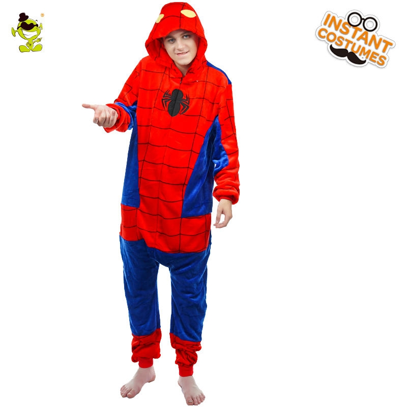Superhero Spider Man Pajamas Costume Role Play Cartoon Skull Sleepwear Cosplay Halloween Party Silk Spider Pajamas for Adult Man