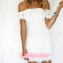 Women White A Line Lace Sexy Dress Soild Off The Shoulder Wedding Party 2018 Spring Mini Dresses Laipelar