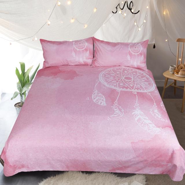 BeddingOutlet Watercolor Dreamcatcher Bedding Set Queen Size Pink Quilt Cover With Pillowcases Girls Bedclothes Luxury 3pcs