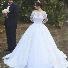 SexeMara Vintage Long Sleeves Ball Gown Wedding Dresses