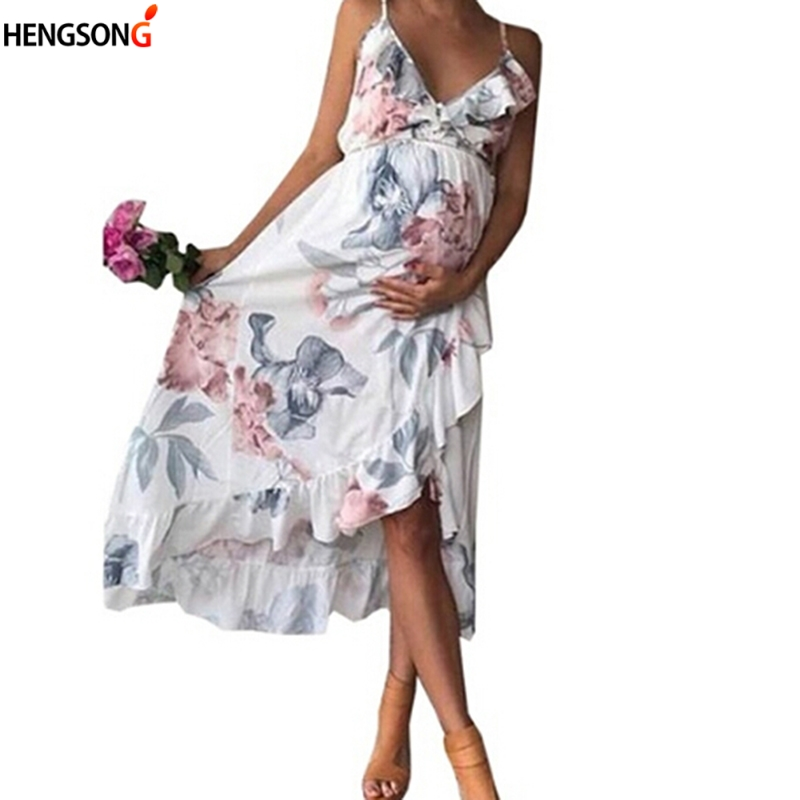 New Women Long Boho Dress Fashion Summer Beach Dresses Floral Print Irregular Length Ruffles Sleeveless Dress Vestidos De Festa