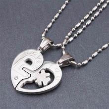 Romantic Stainless Steel Half Heart Pendants Necklaces for Couples Love You Key Lock Promise Necklaces 2PCS