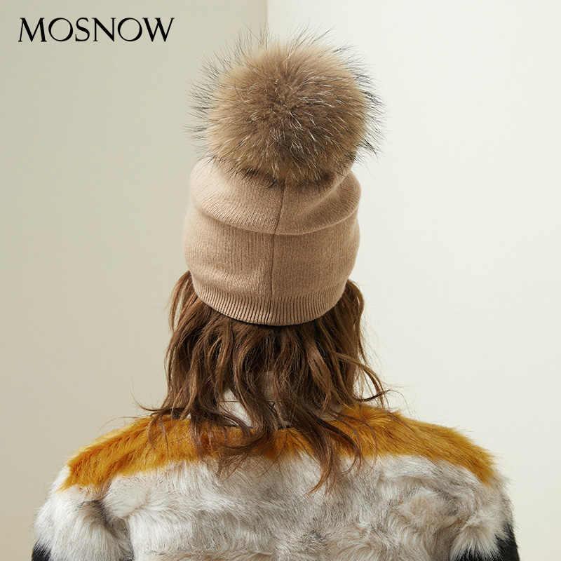 Outono Inverno Gorros Chapéu Para As Mulheres de Lã de Malha Cap Com o Real Raccoon Fox Fur Pompom Skullies Casuais Cores Sólidas de Esqui gorro