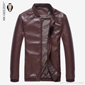 2016 Fashion brand motorcycle leather jackets men Leisure Business Office High Quality PU Leather Solid Coats Plus size M~4XL
