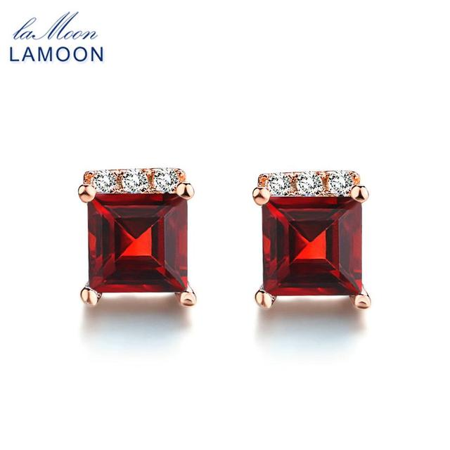 LAMOON Simple Style 4mm 100% Square Natural Red Garnet 925 sterling-silver-jewelry  Stud Earring S925 LMEI047