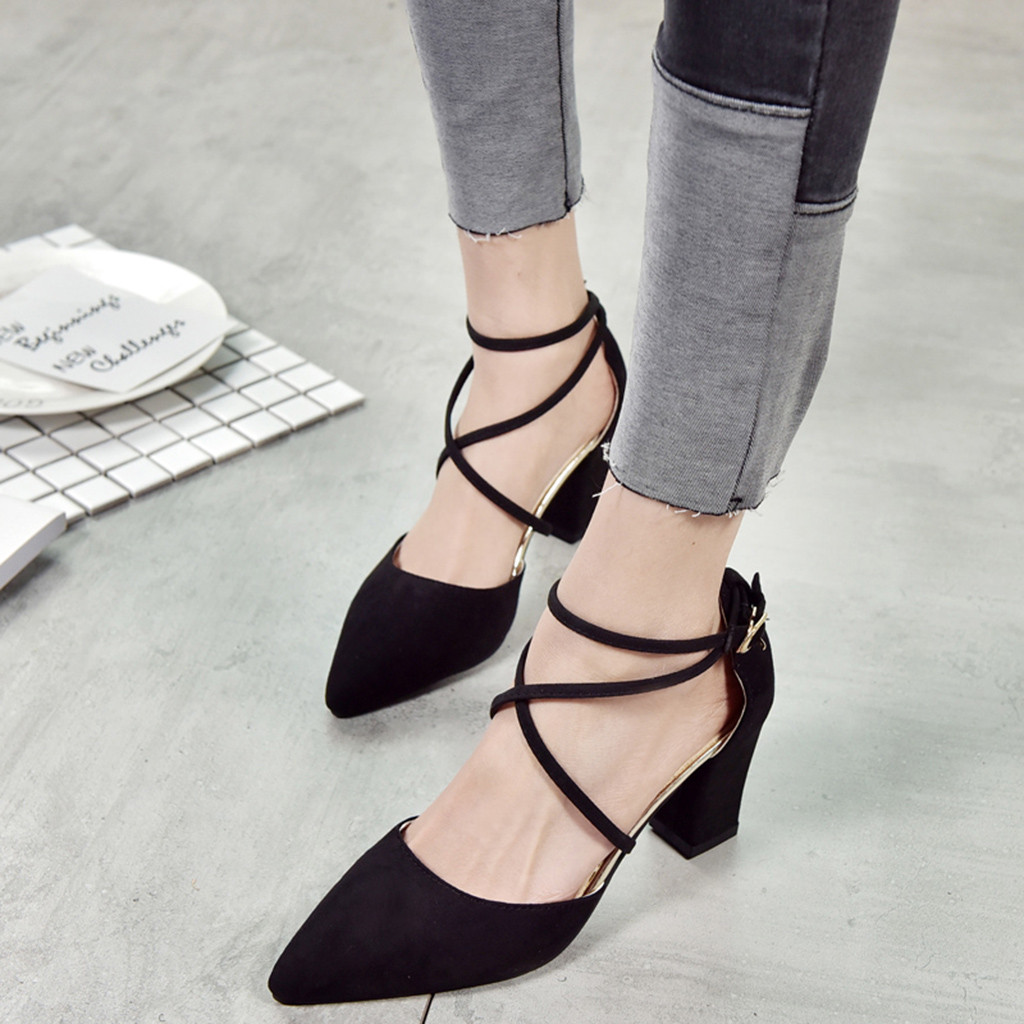 2019 Women Fashion Office Cross Tied Heel Sandals Pointed Toe Square Party Wedding Shoes High Heel Sandals Sandalias Mujer 2019