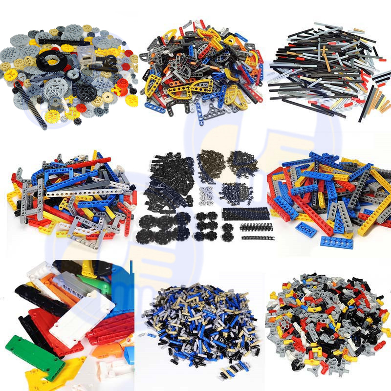 200Grams Technic Gear Studless Beam Arms Pin Connctor Axle Chain Panel Chain Link Parts Fit For Legoes MOC Brick Bulk DIY Toys