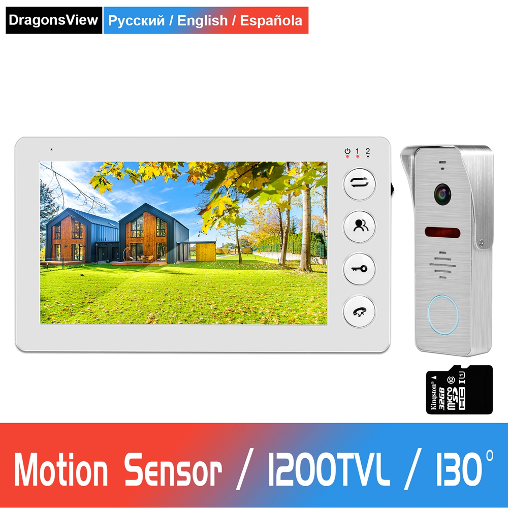 Video Doorbell Home Intercom Wired 7 Inch HD Monitor With IR Night Vision Doorbell Camera Support Motion Sensor Video Door Phone