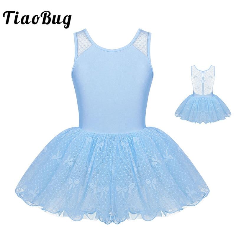 TiaoBug Kids Girls Sleeveless Floral Lace Ballet Tutu Dress Child Ruffle Ballet Gymnastics Leotard Stage Lyrical Dance Costumes