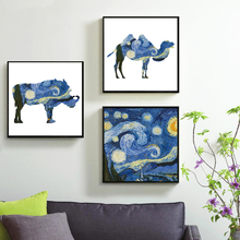 Starry Night Vincent Van Gogh Impressionism Copy of The Famous Artist Poster Art Landscape Oil Painting of Canvas Portrait Wall
