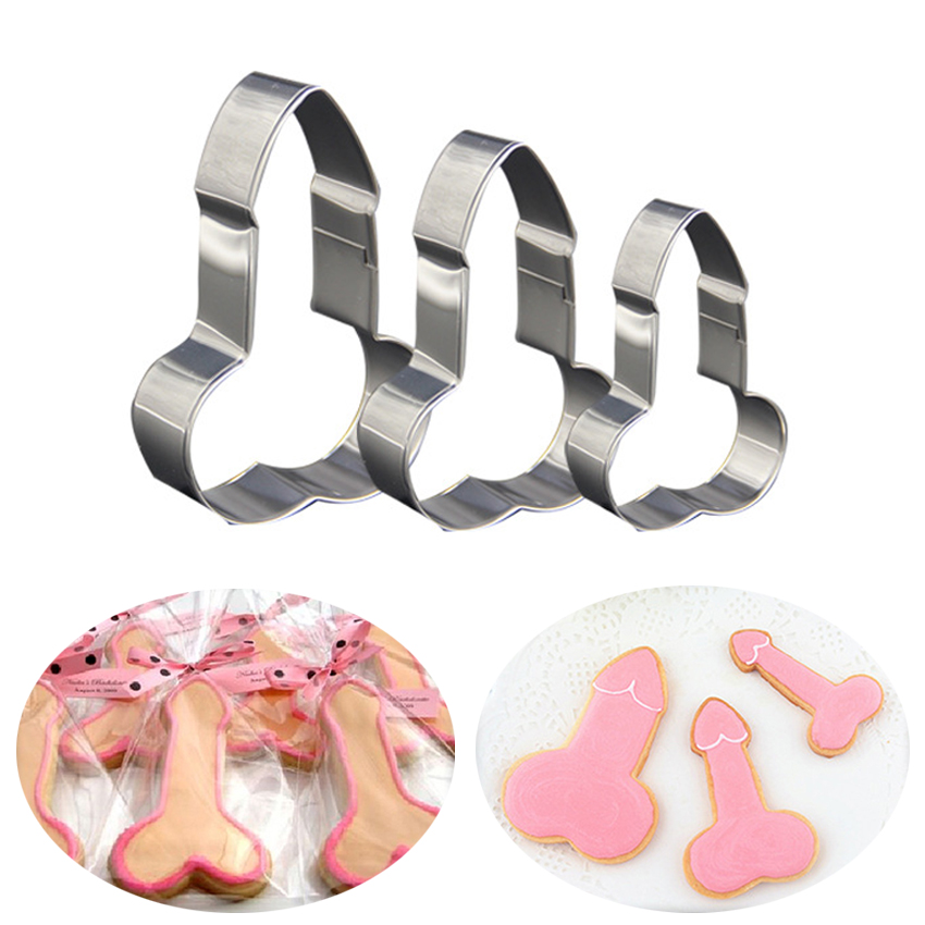 3Pc/Set Stainless Steel Willy Penis Cookie Cutter Mold Baking Biscuit Fondant Cake Mould DIY Kitchen Baking Decoration Tools