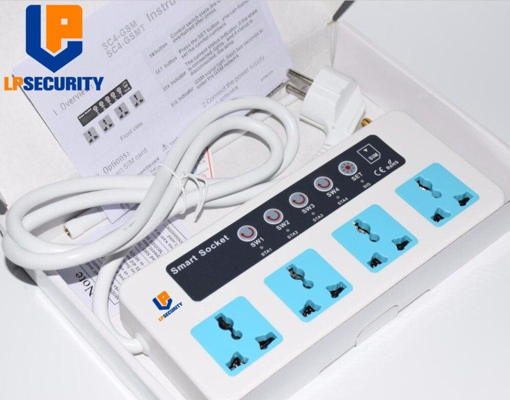 LPSECURITY GSM Telefone/Call/SMS Controle Remoto Universal Sem Fio de Extensão Inteligente Tomada Elétrica/4 Outlets/ UE/EUA plug