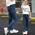 2017 spring and autumn hot fashion classic children's elastic jeans 2-13 year old girls embroidered letters wild boy pants
