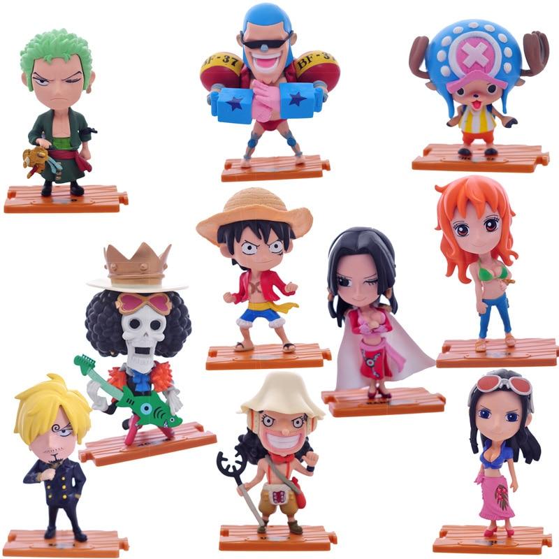12cm One Piece 10pcs/set Action Figures Anime PVC  Collection Figures toys 12pcs set children kids toys gift mini figures toys little pet animal cat dog lps action figures