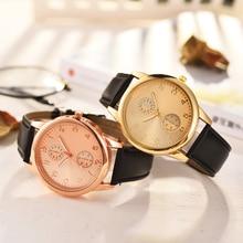 Simple Quartz Clocks Watch Business Men luxury Rose Gold Leather Strap Dress Party WristWatches relogio masculino