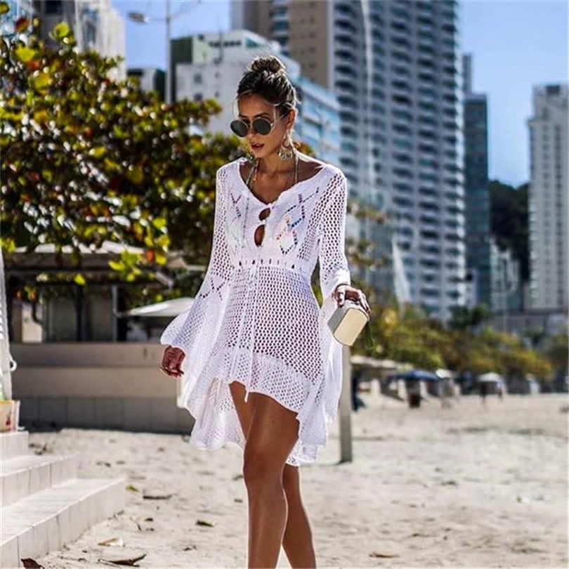 محبوك الأبيض الشاطئ التستر بايرو شاطئ التستر فستان تونك طويل Pareos البيكينيات غطاء ups السباحة التستر رداء بلاج بحر