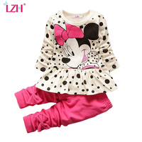2016 New Spring Fashion Baby Girls Cartoon Suits Falbala Long Sleeved T Shirt Pure Color Bowknot