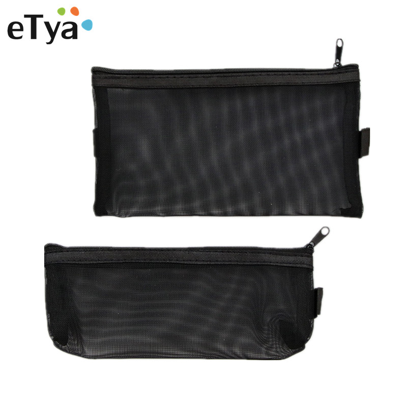 ETya Multifunction Fashion Women Mesh Small Cosmetic Bag Transparent Nylon Storage Bag Zipper Makeup Bag Student Pencil Case