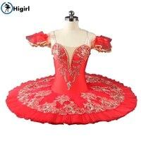 Красный балетная пачка для девочек костюмы Профессиональный Классический Танцы трико Детские платья для девочек Жизель балет costumeBT9046