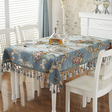 Europe Elegant Floral Table Cloth Tassel Runner Mat Modern Thickened Tablecloths Rectangular Jacquard Cover