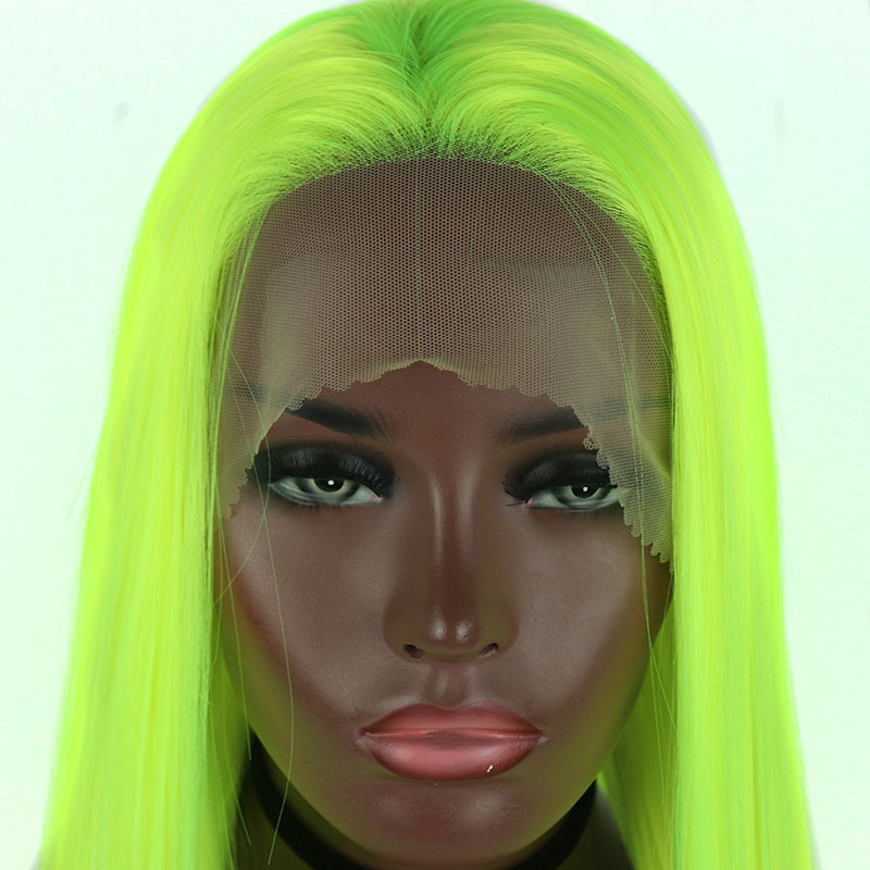Bombshell Synthetic Lace Front Wigs Light Green Straight Cosplay Drag Queen Party Wig Heat Resistant Fiber Hair-in Synthetic Lace Wigs from Hair Extensions & Wigs