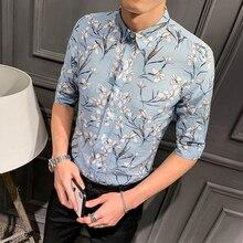 2019 male trend Slim handsome summer five-point sleeve flower shirt Korean casual mens net red printed