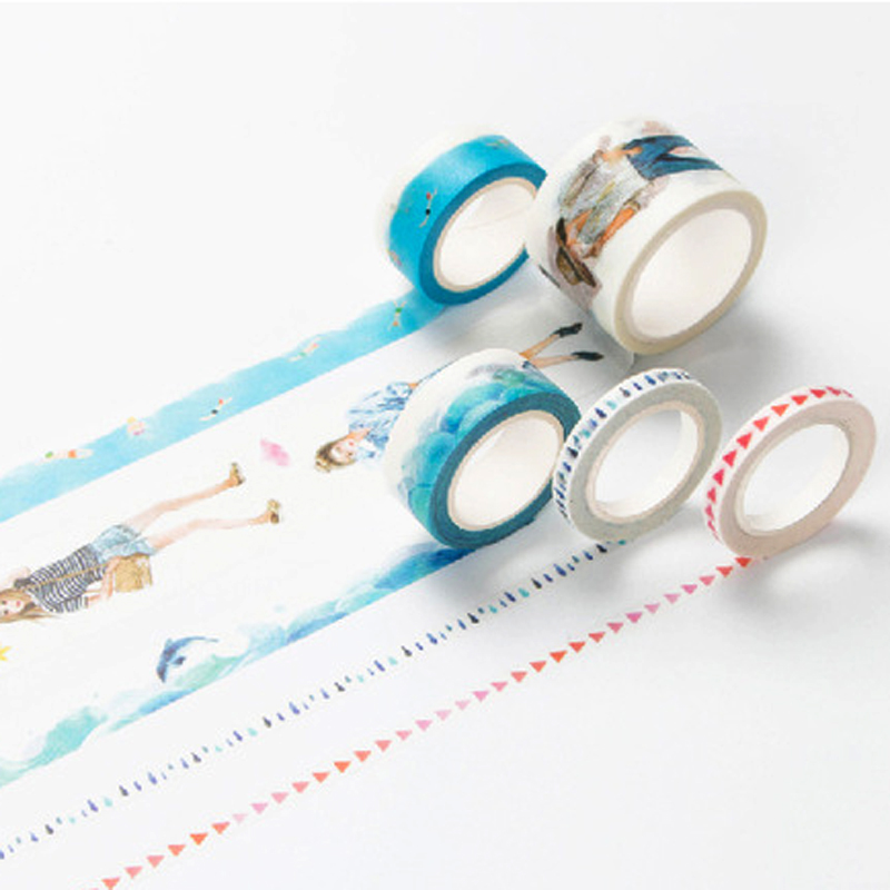 Infeel Blue Girl Washi Tape DIY Decorative Scrapbooking Planner Masking Label Sticker Stationery School Supplies