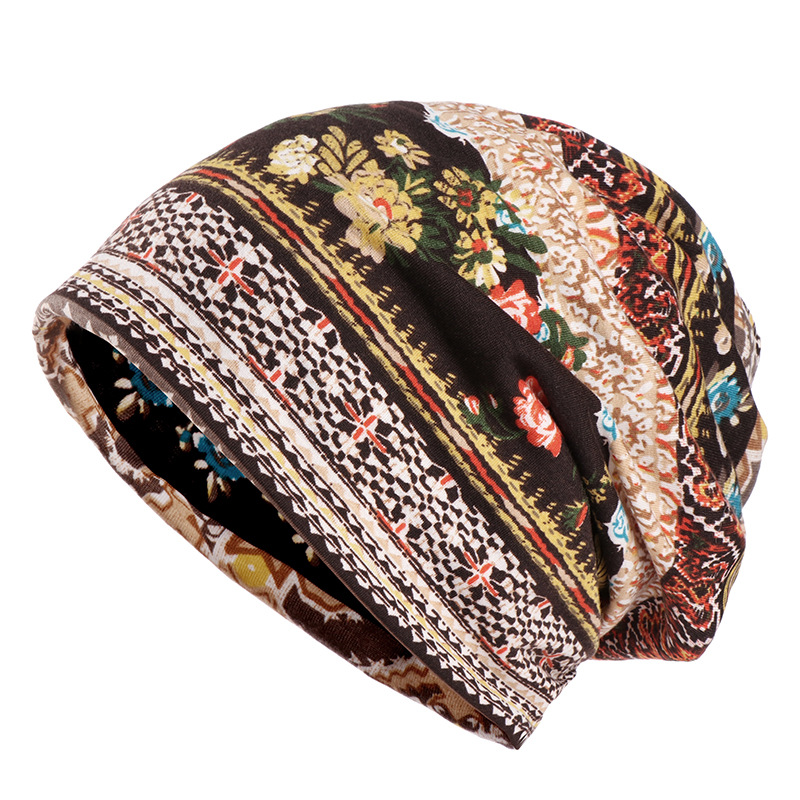 Bohemia Printing Women Beanies Casual Slouchy Beanie Striped Printing Exotic Skullies Cap Bonnet For Female Boho Chapeu Hats